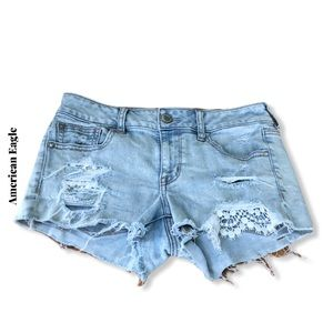 American Eagle Destroyed Crochet Lace Shorts